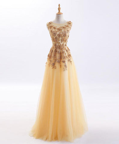 Gold 3D flower lace long handmade evening dress, unique prom dress