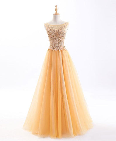 Gold tulle scoop neck long senior prom dress,long beaded evening dress