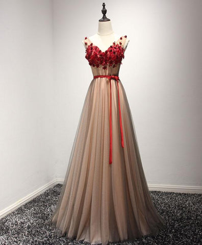 Cute burgundy lace appliques long V neck handmade prom dress with sash