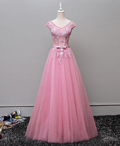 Pink tulle A line long lace cap sleeves evening dress, prom dress