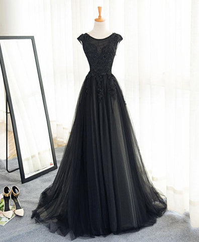 Black tulle A-line long senior prom dress, lace evening dress