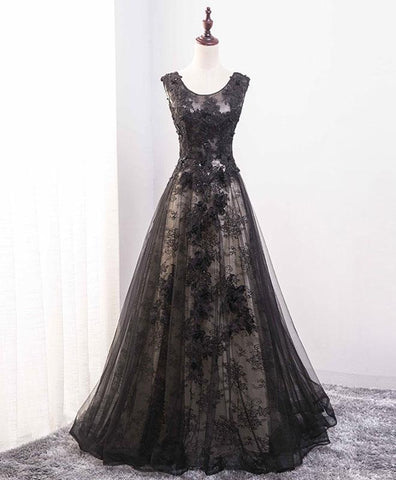 Black lace scoop neck long A-line evening dress, long lace party dress