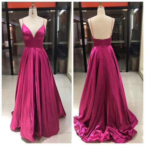 Long Prom Dress,V-Neck Sleeveless Formal Prom Dress
