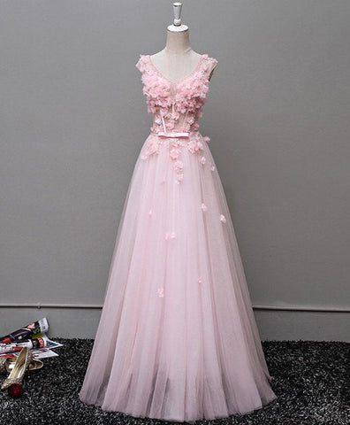 Blush pink V neck long 3D appliques tulle senior prom dress