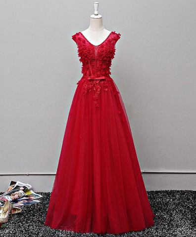 Red V neck long 3D appliques tulle halter prom dress, lace evening dress