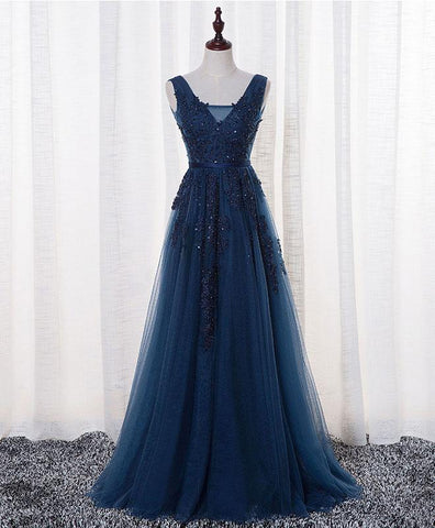 Dark blue tulle long simple prom dress, long lace evening dress