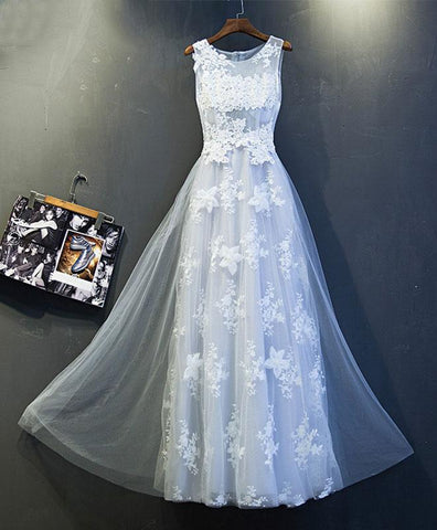 Gray lace scoop neck handmade long senior prom dress, tulle evening dress