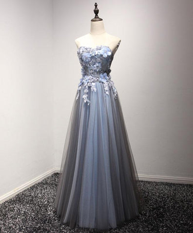 Gray tulle flower lace appliques long senior prom dress