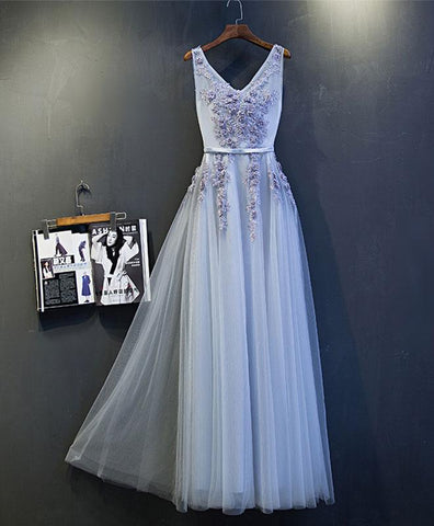 Simple gray tulle v neck long foraml prom dress, lace evening dress