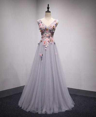 Gray tulle long A-line senior prom dress with pink appliques