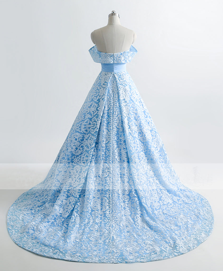 Ice blue lace sweetheart sweep train off shoulder evening dress ...