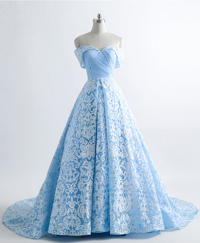 Ice blue lace sweetheart sweep train off shoulder evening dress