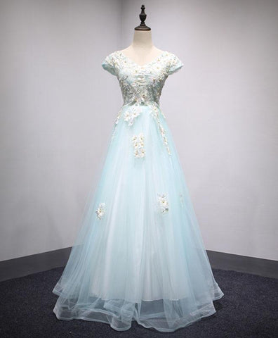 Ice blue tulle cap sleeves long V neck prom dress, lace evening dress