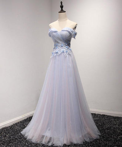 Light blue tulle strapless long prom dress, cheap evening dress