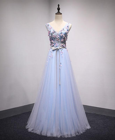 Ice blue tulle long 3D appliques prom dress with silver sash