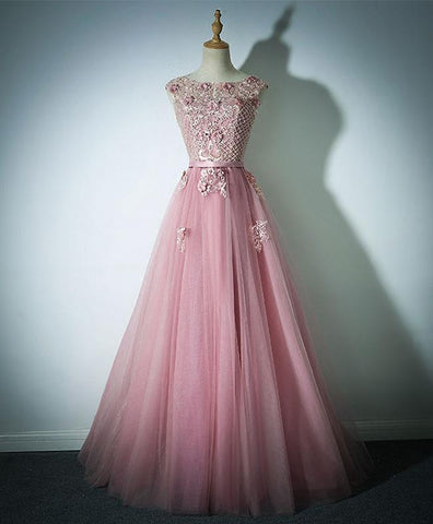 Pink tulle long pearl prom dress, pink handmade beaded evening dress