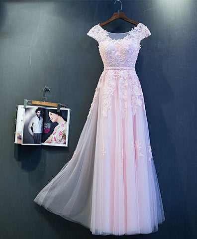 Pink tulle scoop neck long formal prom dress, lace cap sleeves evening dress