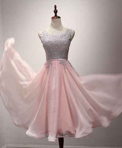Pink chiffon lace A line tea length prom dress, pink bridesmaid dress