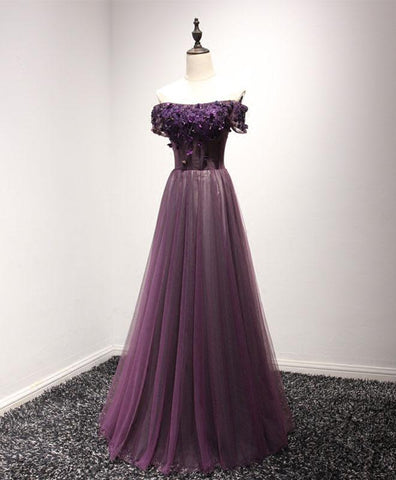 Purple tulle off shoulder long prom dress, purple crystal evening dress