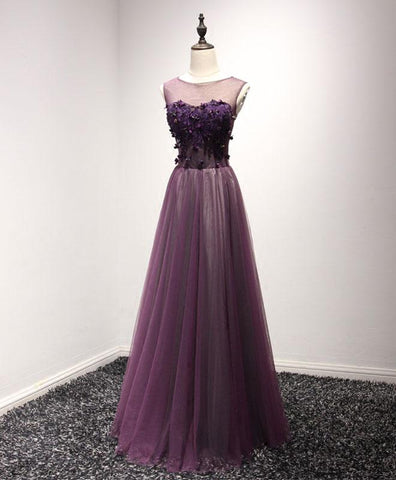 Purple tulle long scoop neck crystal A-line prom dress, evening dress