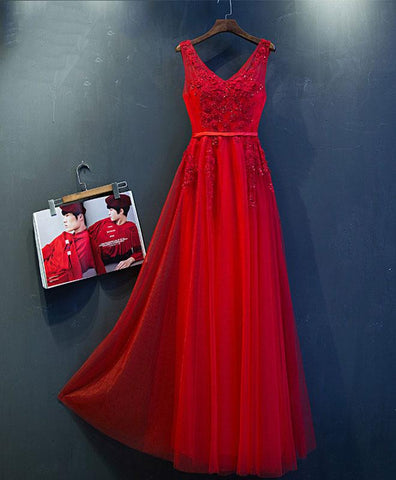 Red tulle V neck long handmade prom dress, long party dress
