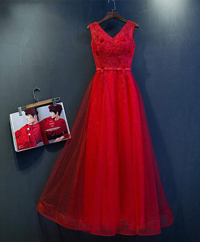 Red tulle V neck lace appliques long formal prom dress, long evening dress