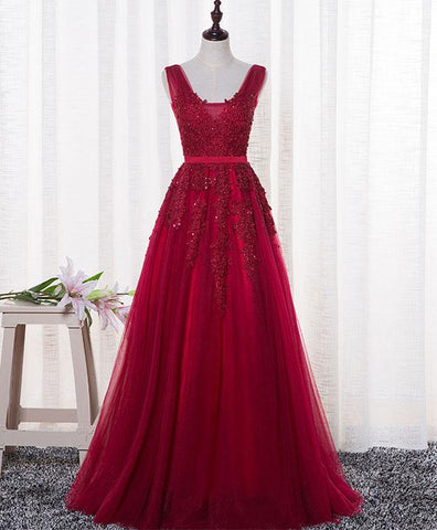 Deep red tulle V neck long A-line prom dress, formal dress