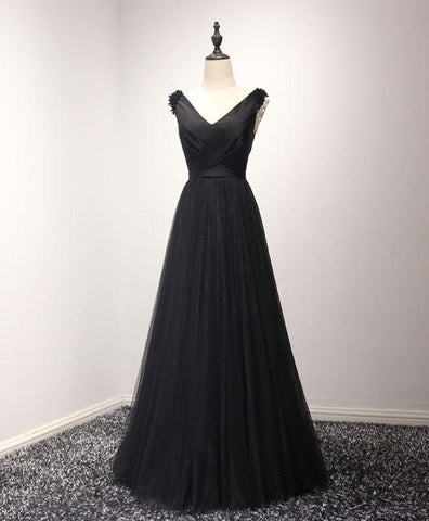 Black satin long V neck tulle halter formal prom dress