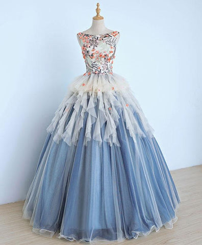Unique round neck blue tulle ruffles lace applique long prom dress