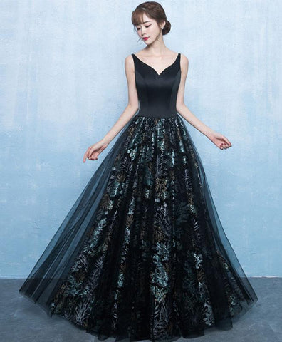 2018 backless black floral tulle V neck prom dress, long evening gown