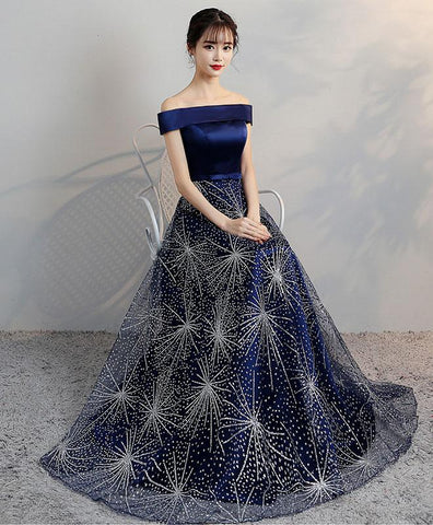 2018 new design navy blue tulle senior prom dress, long evening gown