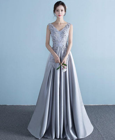 Cute Gray lace satin long prom dress, lace evening dress
