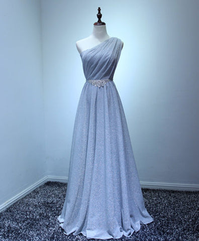Blue gray tulle one shoulder long beaded A-line prom dress