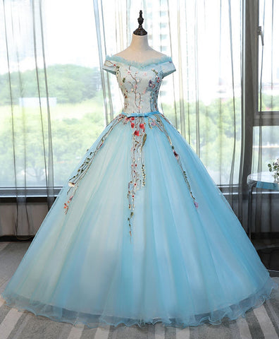 Light blue tulle off shoulder V neck floor length formal prom gown, evening dress