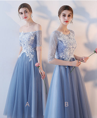 Cute blue tulle tea length A-line white lace bridesmaid dress with mid sleeves