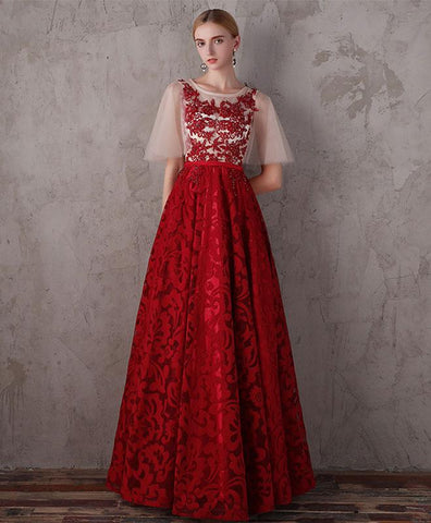 Beautiful Burgundy Lace Long Prom Dress, Burgundy Evening Dress With Sleebes
