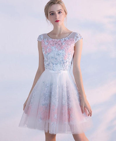 Cute short prom dress with 3d flower appliques, tulle homecoming dress