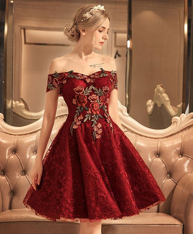Burgundy lace prom dress, off shoulder prom dress