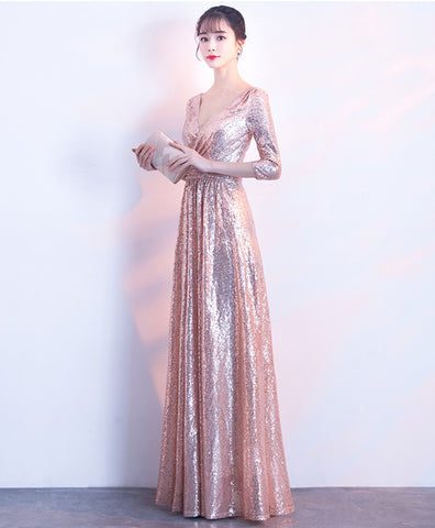 Champagne sequins long V neck evening dress, prom dress with sleeves