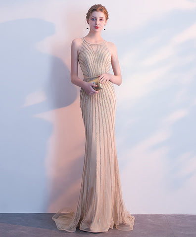 Shinny champagne tulle long mermaid evening dress, prom dress with beading