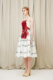 Original design White floral satin knee length prom dress, fashion dress