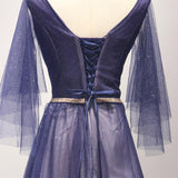 Dark blue tulle handmade long prom dress with sleeves