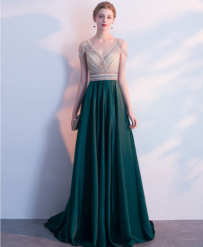 Deep green satin V neck off shoulder long crystal evening dress, formal prom dress