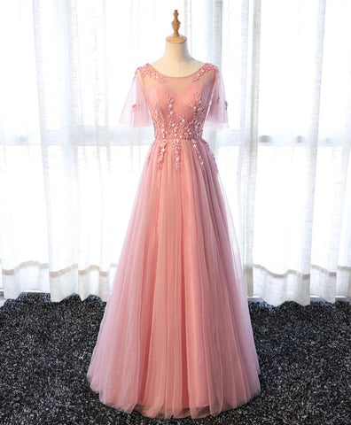 Pink tulle lace A line prom dress, long prom dress for teens