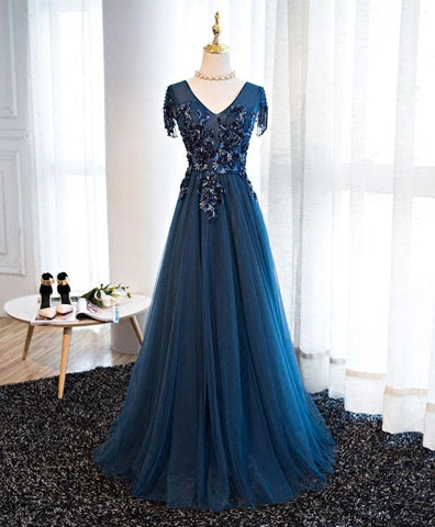 Lace appliqued dark blue tulle prom dress, short sleeve prom dress