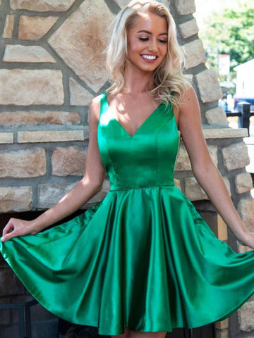 Simple green Satin V Neck Prom Dress, Green Homecoming Dress