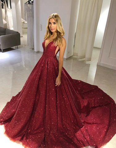 Sparkly Burgundy Sweetheart Tulle Sequin Long Prom Dress Tulle Formal Dress
