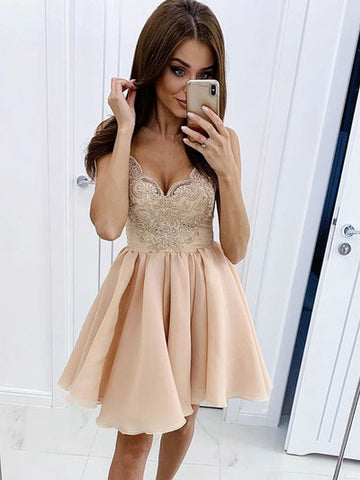 2020 Champagne tulle lace short prom dress, champagne homecoming dress