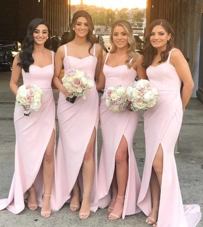 Elegant Mermaid Pink Long Bridesmaid Dress with Slit