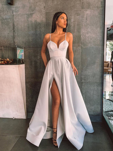 2020 Simple Sweetheart Satin Long Prom Dress Satin Evening Dress